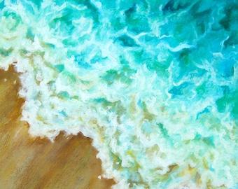 "Surf original acrylic painting on canvas by Eden Bachelder, 24"" x 20"", waves, ocean, water, beach, sea"