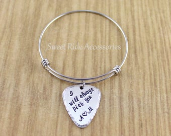Personalized Womens Silver Guitar Pick Bracelet (Adjustable Bangle Bracelet) Girlfriend Gift, Wife Gift • Custom Guitar Pick Jewelry