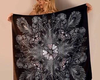 Black Scarf, Silk scarf, Hand Painted silk scarf, square scarf Black scarf, Women scarf, Square silk scarf women