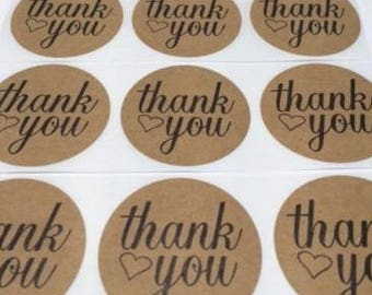 "100 Thank You Heart Stickers Natural Kraft 2"" Peel & Stick Stickers"
