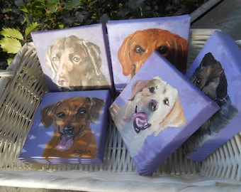 Pet Portrait Painting 4 x 4 with easel, Mother's Day Gift