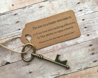 Wedding Favors For Guests - Skeleton Key Bottle Openers + FUNNY Thank-You Tags – Set of 50 - Ships from USA - Antique Bronze