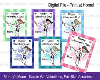 Karate / Martial Arts Girl Valentines - Fair Skin Assortment - Digital File, Print at home Valentine Cards