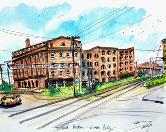 """Original Ink and watercolor Sketch from West Bottoms buildings, Kansas City, Mo. 9""""x12"""" Train tracks. By Liz Vargas"""