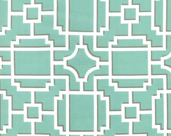 Quilting cotton fabric by the yard, 100% cotton, lattice in seafoam green by fabric designer Paula Prass. Need more fabric yardage? Just ask