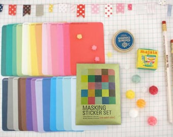 Masking Sticker Set - Deco Stickers - Paper Stickers - 27 Sheets - Solid Color Ver