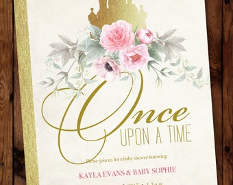Princess Shower Invite, Little Princess Invite, Storybook Invitation, Once Upon a Time Baby Shower Invitation, Storybook Invite #003