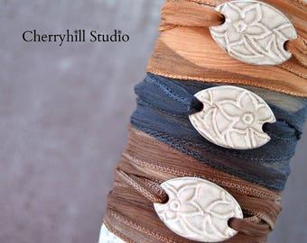 Terracotta Wrap Bracelet, Ceramic Jewellery, Wrap Bracelet, Ribbon Bracelet, Unique Jewellery, Jewelry, Gifts for Her