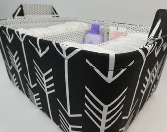 "Ex Large Diaper Caddy-14""x 10""x 7""(CHOOSE Basket COLOR)Two Dividers-Baby Gift-Fabric Storage Organizer-""White Arrow on Black"""