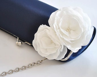 Midnight Blue and Off white - Bridal Clutch - Bridesmaid Clutch - Wedding Clutch - comes with a chain strap - You choose the color
