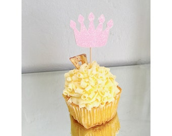 Crown Cupcake Toppers, Princess party, Crown decorations, Cupcake toppers, pink and gold crowns, 1st birthday- set of 12