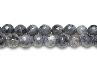 Strand 45+ Black/Grey Larvikite 8mm Faceted Round Beads GS8636-3