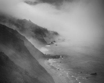 Big Sur Black and White Photo Ocean Bw Photography California Coast Photograph Pacific Wall Art Fog Seascape nat141