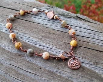 Happy Lace - Gemstone Bracelet with Ohm charm in Copper