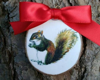 Rustic Country Squirrel Christmas ornament woodland creature whitewash