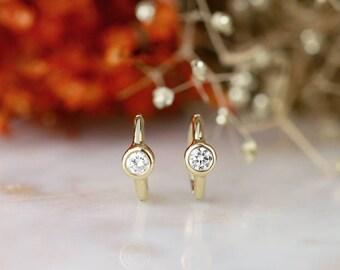 Huggie Bezel Hoop Earring | Solid 14K Gold | Fine Jewelry | Free Shipping