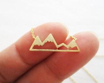Gold, Rose Gold or Silver Mountain Top Necklace, Snowy Mountain Top Necklace, daint, simple, birthday, wedding, bridesmaid