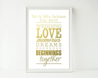 Real Foil Print - Wedding Love Subway Print, Wedding Present, Custom Personalized Wedding Sign, Anniversary Decor Wall Art
