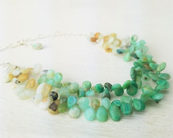 Peruvian Green Opal Graduated Two Strand Ombre Briolette Drop Sterling Silver Necklace