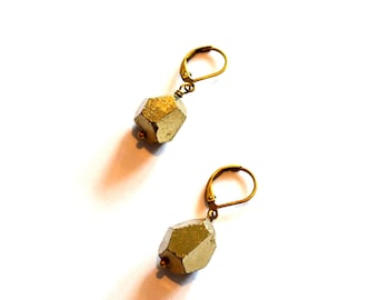 Small Pyrite Nugget Earrings / Fools Gold Nugget Earrings / Gem Cut Gold Earrings / Faceted Pyrite Earrings with Antiqued Brass Ear Closures