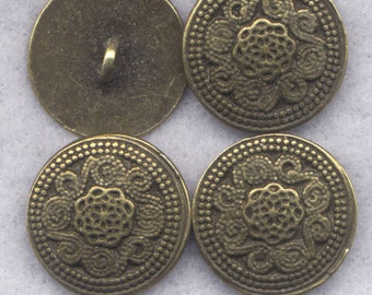 Ornate Shank Buttons Sturdy Metal Buttons 18mm (3/4 inch) Set of 8/BT333