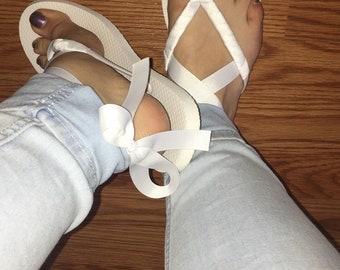 Ribbon gladiator flip flops