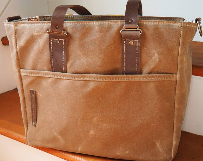 Diaper Tote / Solid or Stripe Interior / Waxed Canvas and Leather