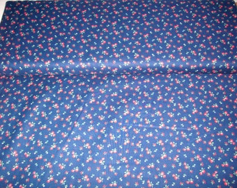 Marcus Brothers,navy blue with red flowers,vintage fabric,100% cotton , by yard