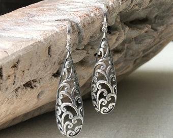Long Silver Teardrop Filigree Earrings