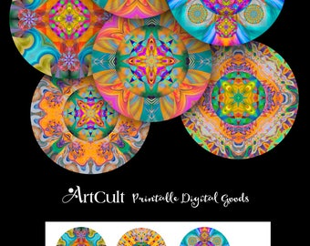 Printable Digital Download KALEIDOSCOPE MANDALAS 2.5 inch Spiritual art images for Pocket Mirrors Magnets Paper Weights cupcake toppers