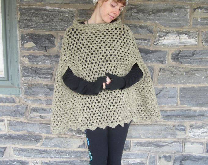 CROCHET PONCHO/ poncho with arm slits/Taupe Poncho/ Boho poncho/Fringe poncho,/gift for her/Birthday gift/ Christmas gift/ Fall fashion