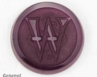 """20mm Amethyst """"W"""" Vintage Glass Initial Cabochon #3740"""