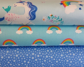 Unicorns and Rainbows Blue Colorway Bundle from Robert Kaufman's Happy Little Unicorn Collection (3 Fabrics Total)