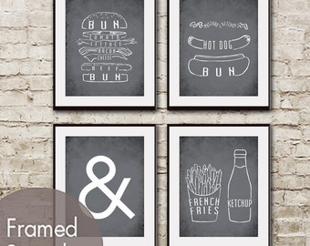 Hamburger, Hot Dog and Ketchup with Fries Series - Set of 4 - Art Prints (Featured in Charcoal) BBQ Party / Kitchen Print