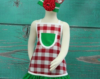 Pizza Party Apron, Kids Apron Set, Kids Apron, Little Girls Apron, Childrens Aprons, Child's Apron, Ruffle Apron, Girls Apron Set, Chef Set