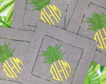 Monogrammed Linen Cocktail Napkins Set of 4- Pineapple, Linen Coasters, Monogrammed linens