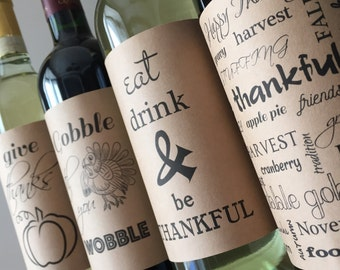 THANKSGIVING-Thanksgiving wine label-thanksgiving decor-thanksgiving wine-kraft thanksgiving-table decor-thanksgiving hostess gift-fall