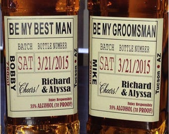 Be My Best Man - Custom Wedding Party and Groomsman Liquor Labels Bourbon Whiskey Best Man - 1 label