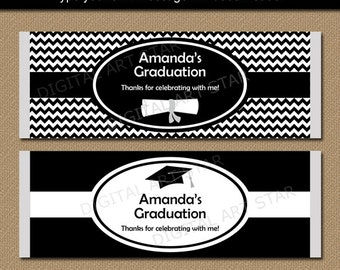 Graduation Chocolate Bar Wrappers, EDITABLE Printable Candy Wrappers, Black and White Graduation Party Favors, Graduation Candy Wrappers G3