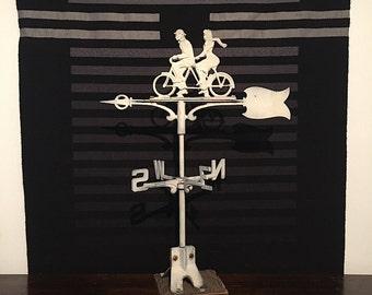 Vintage Weather Vane - Old Weathervane - Vintage Bicycle Art - Tandem Bicycle Decor - Wedding Gift for Cyclist - Vintage Metal Art