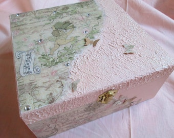 Wooden box Baby decoupage handcrafted