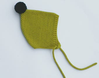 Knitted pixie hat in MUSTARD colour with back pompon - knit baby bonnet - Pixie children bonnet - Knitted hat girl - Kids knit hat