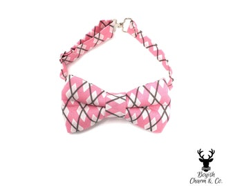 SAMPLE SALE Toddler Boys Pink Argyle Bow Tie, Boys Pink Bow Tie, Boys Bowties, Boyish Charm, Ring Bearer Outfit, Rustic Wedding, Ring Bearer