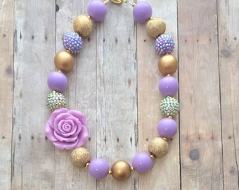 Lavender and Gold Chunky Necklace-Purple Gold- Lavender and Gold Birthday-Lavender Gold Necklace-Gold Chunky Necklace-Lavender Gold Birthday