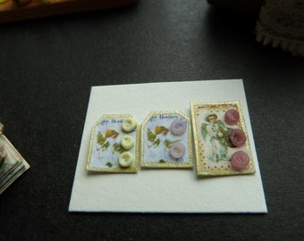 1 12th scale set of three cards of buttons