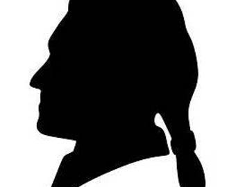 Thomas Jefferson Silhouette - Scherenschnitte - Hand Paper Cutting Art Signed By Janet Lynch -5x7 Frame Included