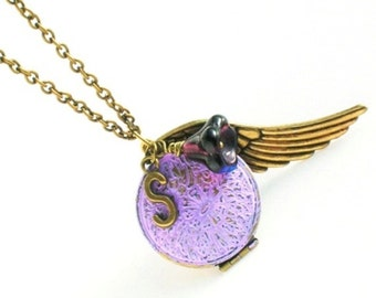 Personalized locket necklace, Mothers day gift ideas for women, Valentine's Day gift, Purple patina initial necklace, Angel wing necklace