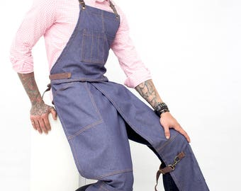 Full Overlapping Split-Leg Apron - Pottery Cross-Back Design - Blue Denim - Leather Reinforcement