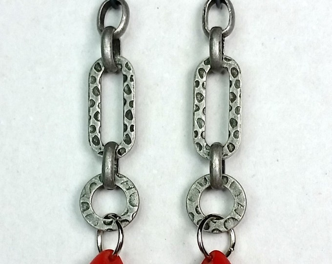 Red Teardrop Bead on Hammered Chain Dangle Earrings - African Wedding Bead Earrings - Chain Dangle Earrings