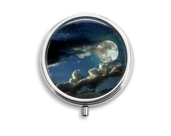 Moon And Clouds 2 Pill Box, Pill Case, Pill Container, Mints Case, Trinkets Box, Jewelry Box (P010)